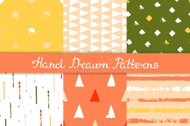 Set of seamless patterns with geometric designs. Circle triangle rhombus stripe in red orange pink yellow green. Hand drawn. vector illustration