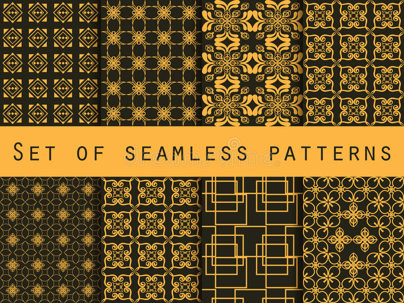 Set of seamless patterns. Geometric patterns. Black and yellow color. For wallpaper, bed linen, tiles, fabrics, backgrounds. stock illustration