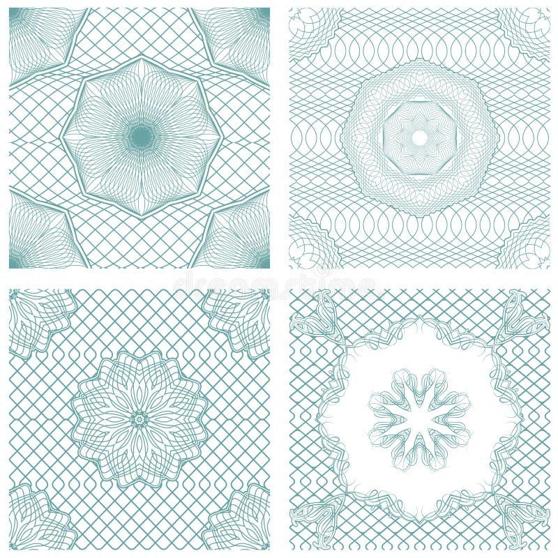 Set of seamless patterns - Guilloche ornamental Elements vector illustration