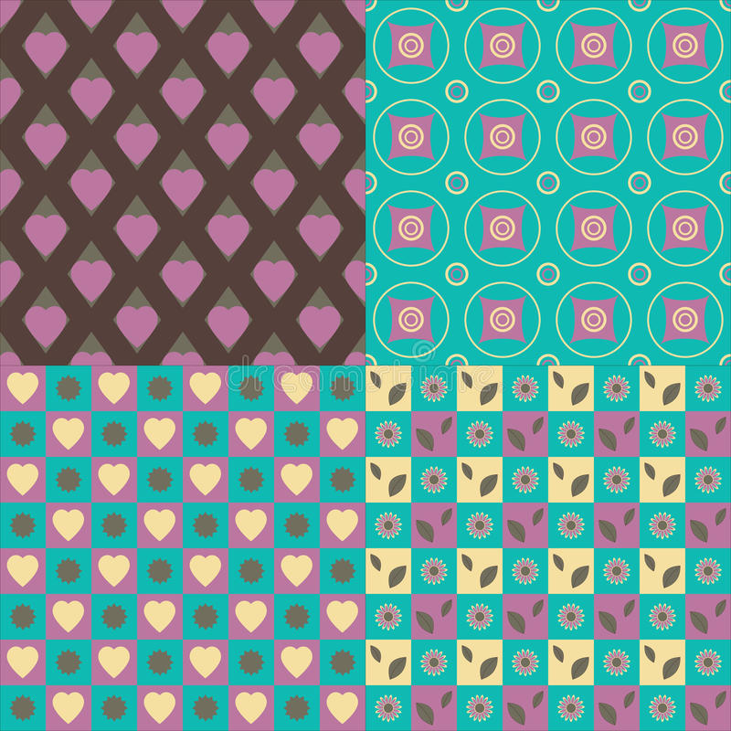 Set of 4 seamless patterns. Hearts, circles, flowers, leaves vector illustration