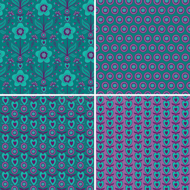 Download Set Seamless Patterns With Hearts And Flowers Stock Vector - Image: 66491941
