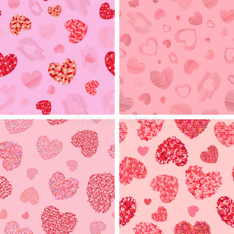 Set of seamless patterns with hearts. Vector illustration royalty free illustration