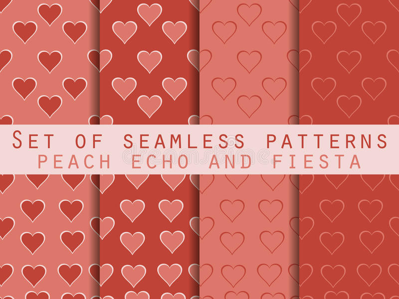 Set of seamless patterns with hearts. Valentine`s Day. Peach echo and fiesta color. Color trend in 2016. Romantic patterns. Vector vector illustration