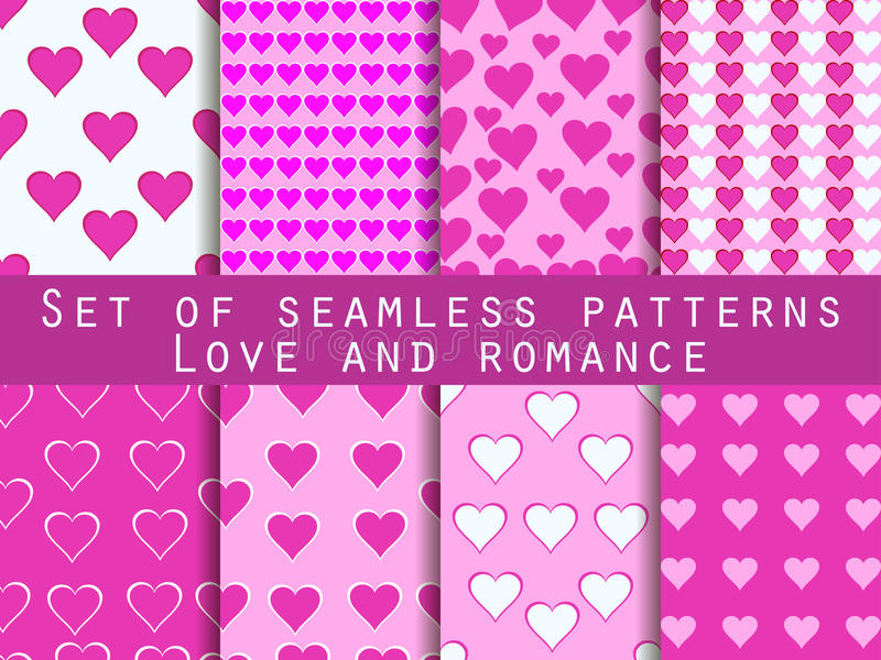 Set of seamless patterns with hearts. Valentine's Day. Romantic vector illustration