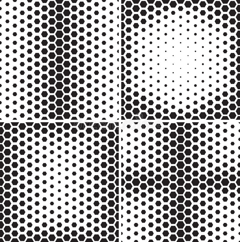 Set of seamless patterns with hexagons gradients. royalty free illustration