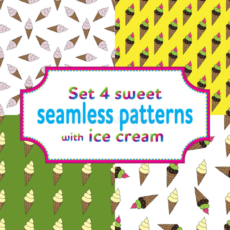 Set seamless patterns with ice cream and candies. Set of seamless patterns with cartoons ice cream and candies. Vector illustration.Sweet design for children stock illustration