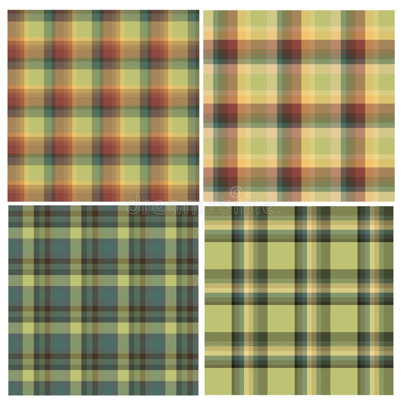 Set of seamless patterns in light and dark green tones for plaid, fabric, textile, clothes, tablecloth and other things. royalty free illustration