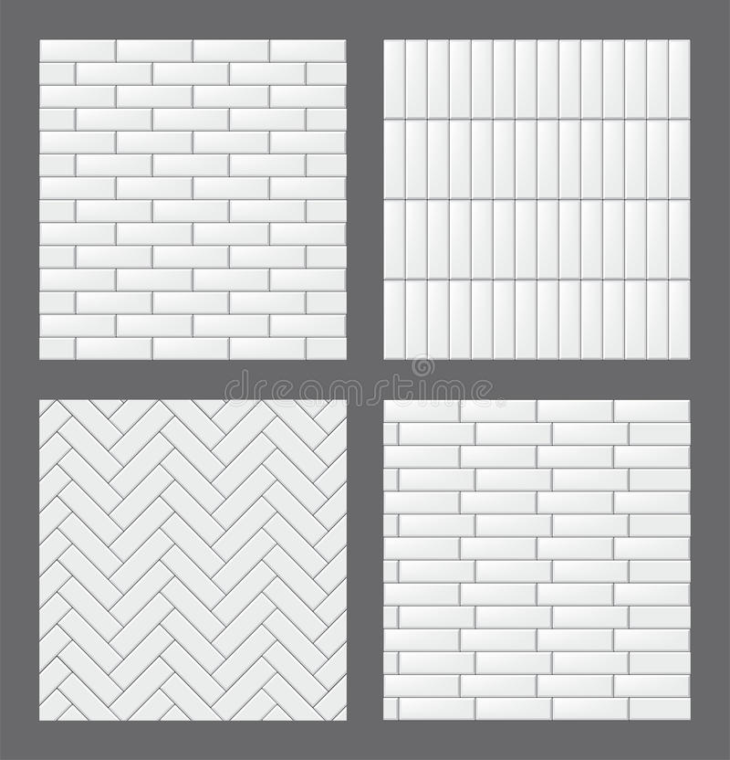 Set of seamless patterns with modern rectangular white tiles. Realistic textures collection. Vector illustration. royalty free illustration
