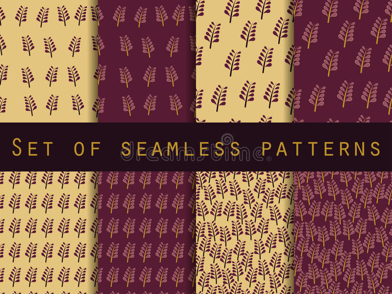 Set of seamless patterns. Nature. The pattern for wallpaper, tiles, fabrics and designs. Vector illustration stock illustration