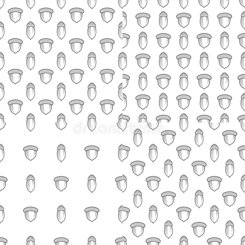 Set of seamless patterns with oak acorns. Black and white vector backgrounds. vector illustration