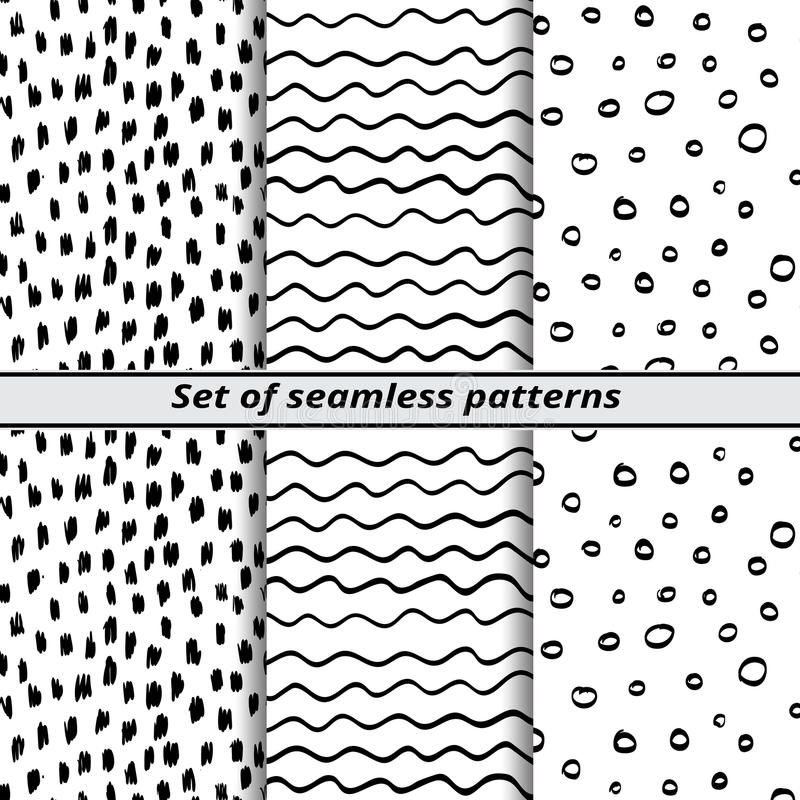Set of seamless patterns painted hands vector illustration