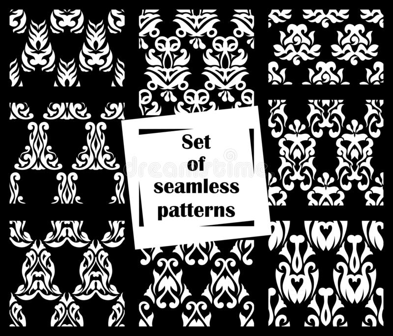 Set of 8 seamless patterns. Patchwork design stock illustration