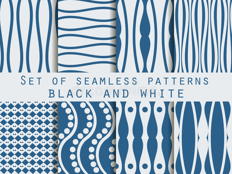 Set seamless patterns. The pattern of the lines. The pattern for wallpaper, tiles, fabrics, backgrounds. vector illustration