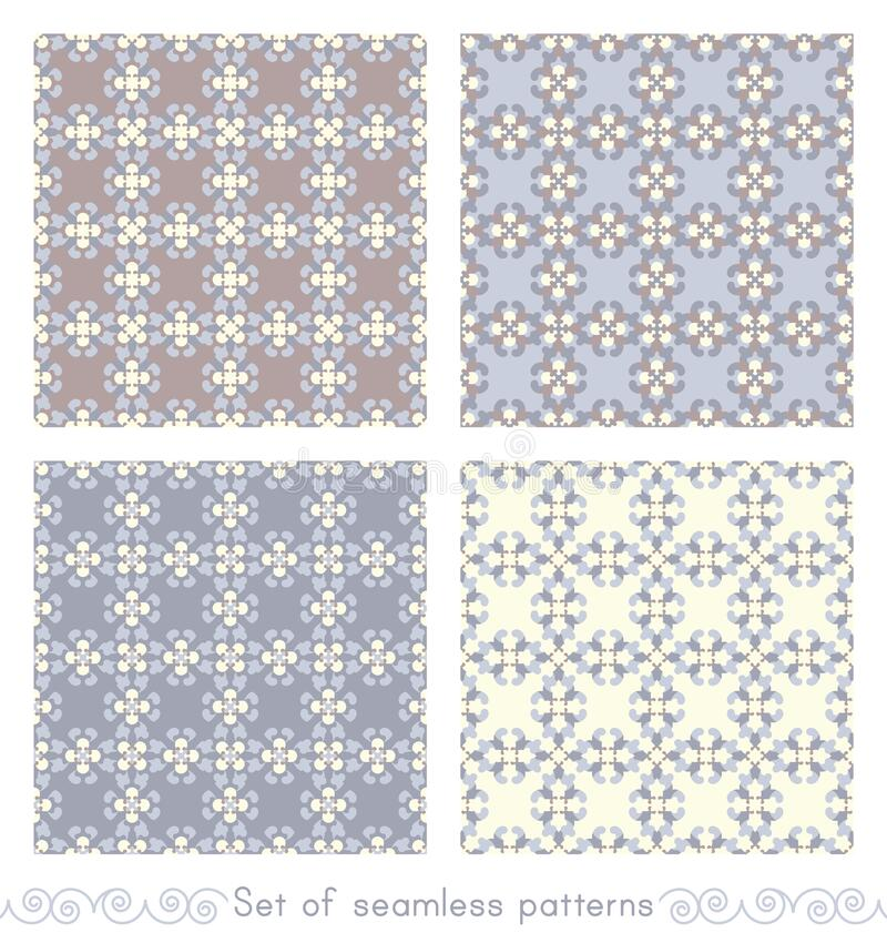 Set of seamless patterns retro, vintage. Chocolate color, blue, blue jean and pale yellow. Pastel colors. royalty free stock images