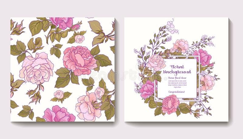 Set of seamless patterns with rose flowers and greeting birthday. Or wedding cards with roses. Stock vector.r stock illustration