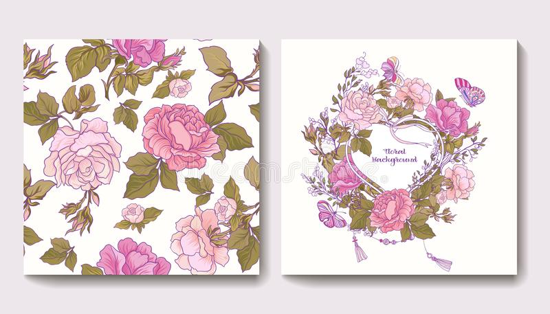 Set of seamless patterns with rose flowers and greeting birthday royalty free illustration