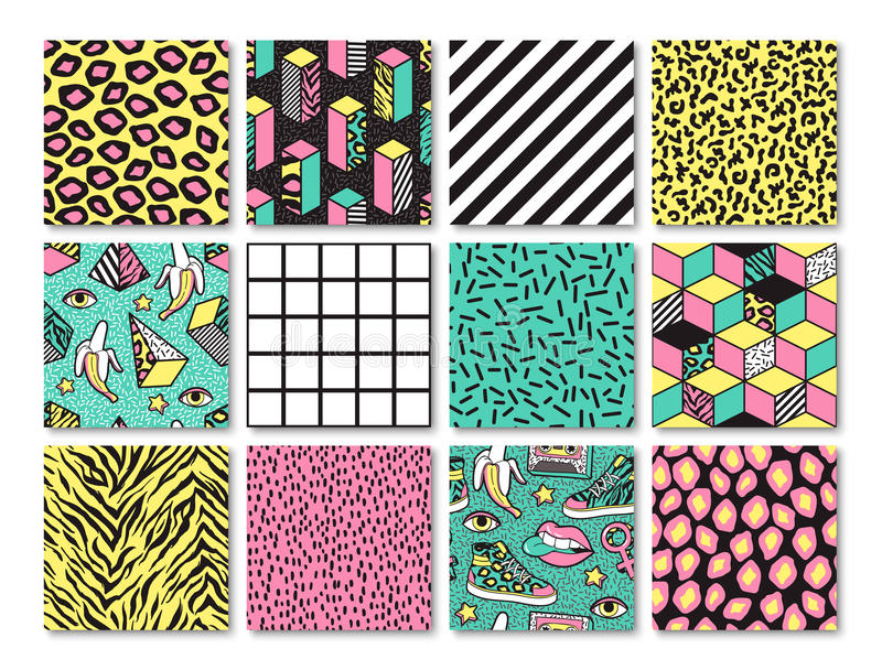 Set of seamless patterns in 80s-90s memphis style. stock illustration