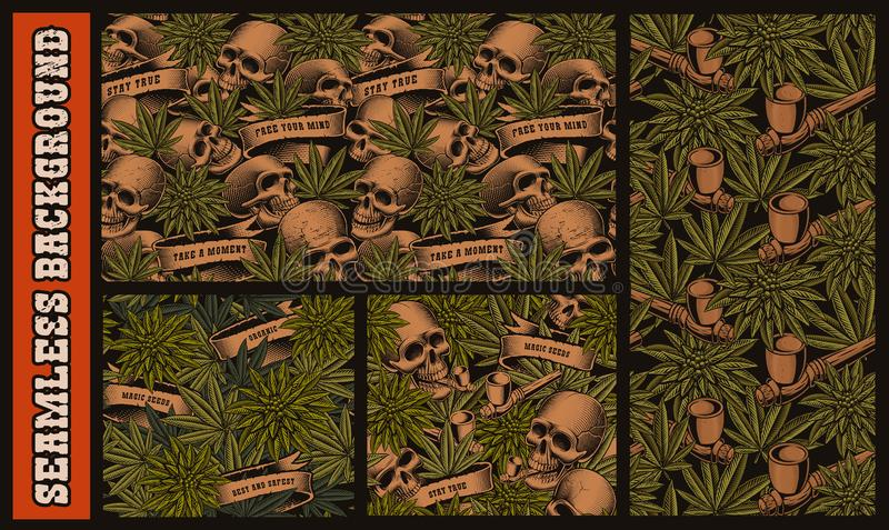 Set of seamless patterns with skulls and cannabis royalty free illustration