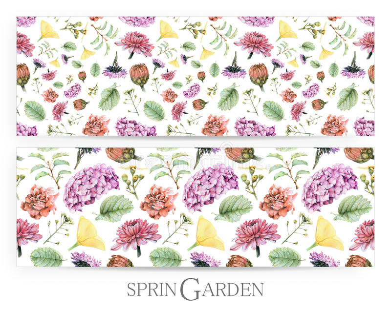 Set of seamless patterns with spring flowers and plants drawn by hand with crayons stock photo