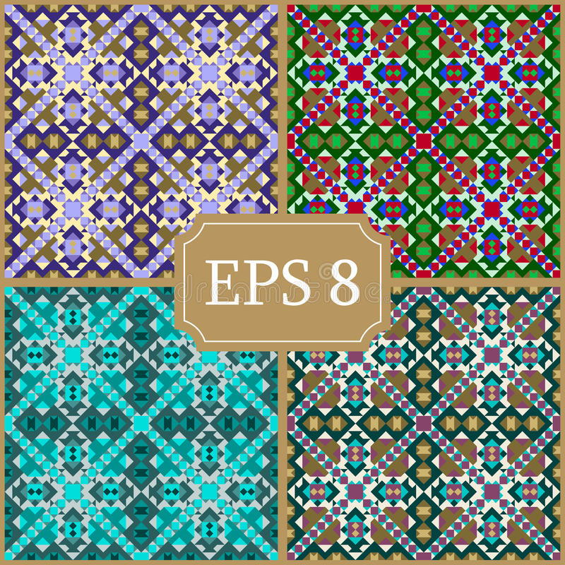 Set of seamless patterns. Stock . Triangle. vector illustration
