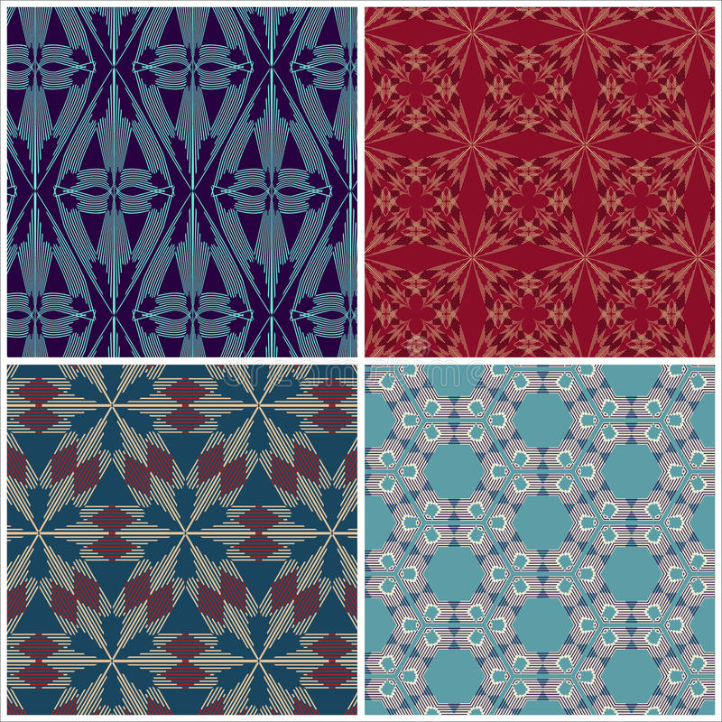 Set of seamless patterns for tapestry, craftsmanship vector illustration