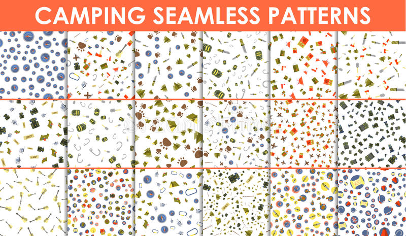 Set of seamless patterns and textures. Camping tent and fire icons. Hiking elements on white background. royalty free illustration