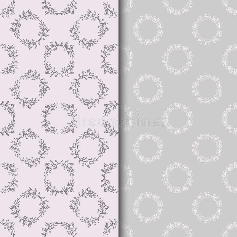 Set of seamless patterns with two circular floral print royalty free illustration