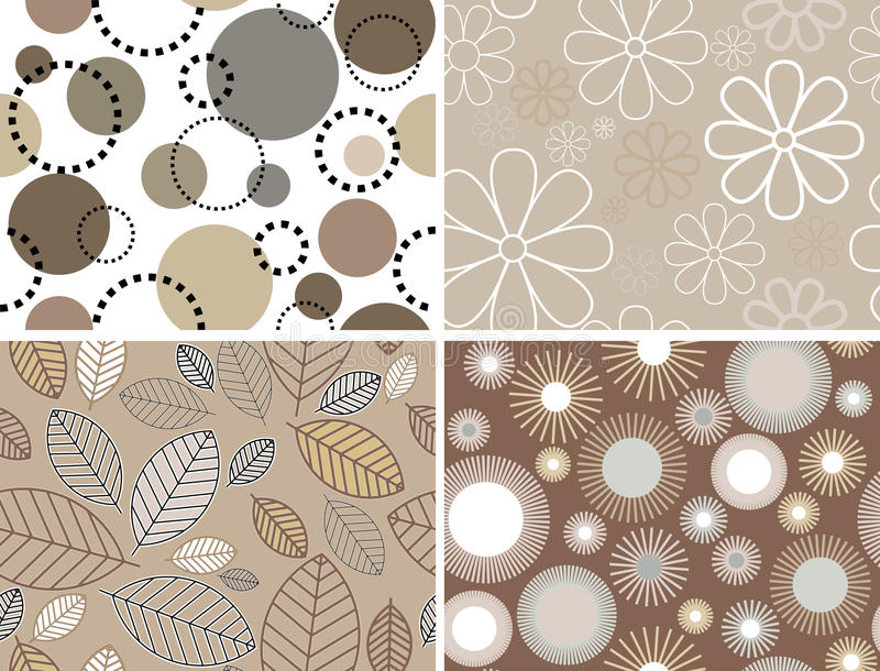 Set of seamless patterns. Vector illustrations. royalty free illustration
