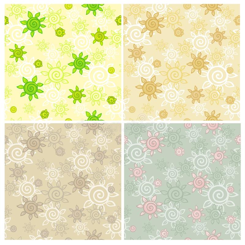 Set of seamless patterns with a vegetable ornament stock illustration