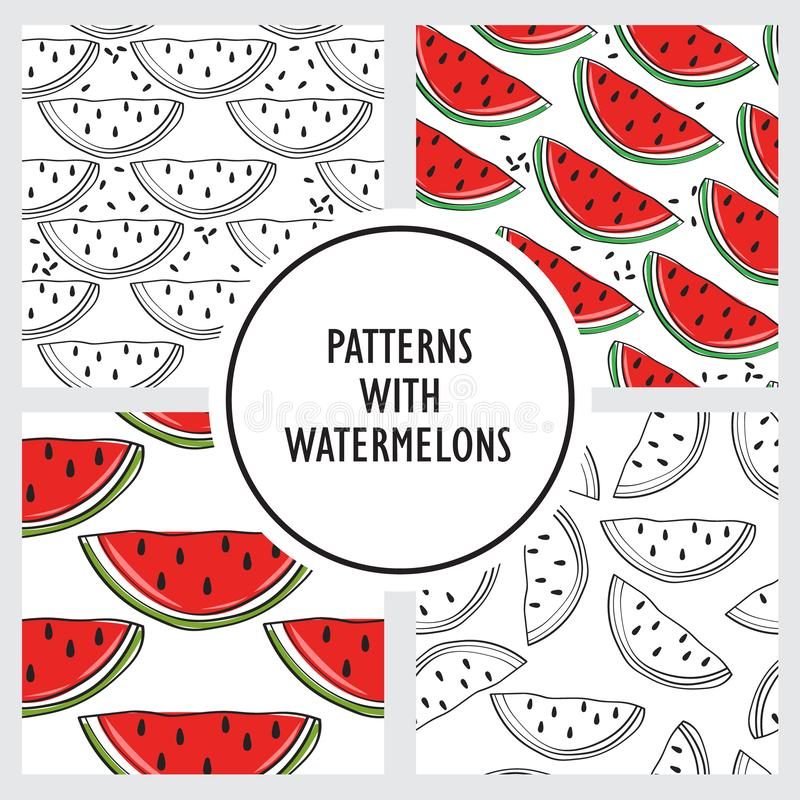 Set of seamless patterns with watermelons. Decorative backgrounds with fruits royalty free illustration