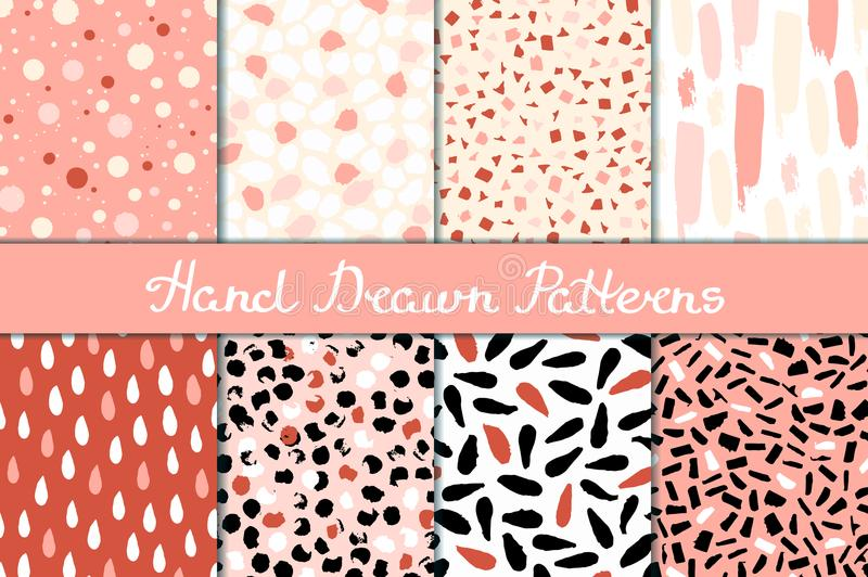 Set of seamless patterns in white, pink, red and black. Ink and brush. Hand drawn. stock illustration