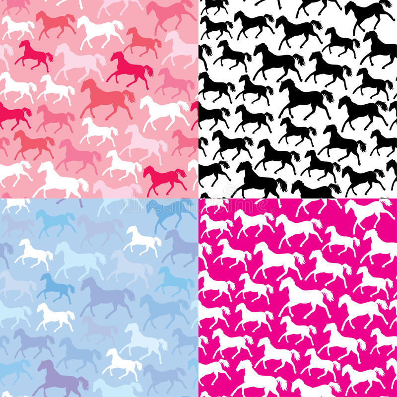 Download Set Of Seamless Patterns With Wild Horses Stock Vector - Image: 34249996