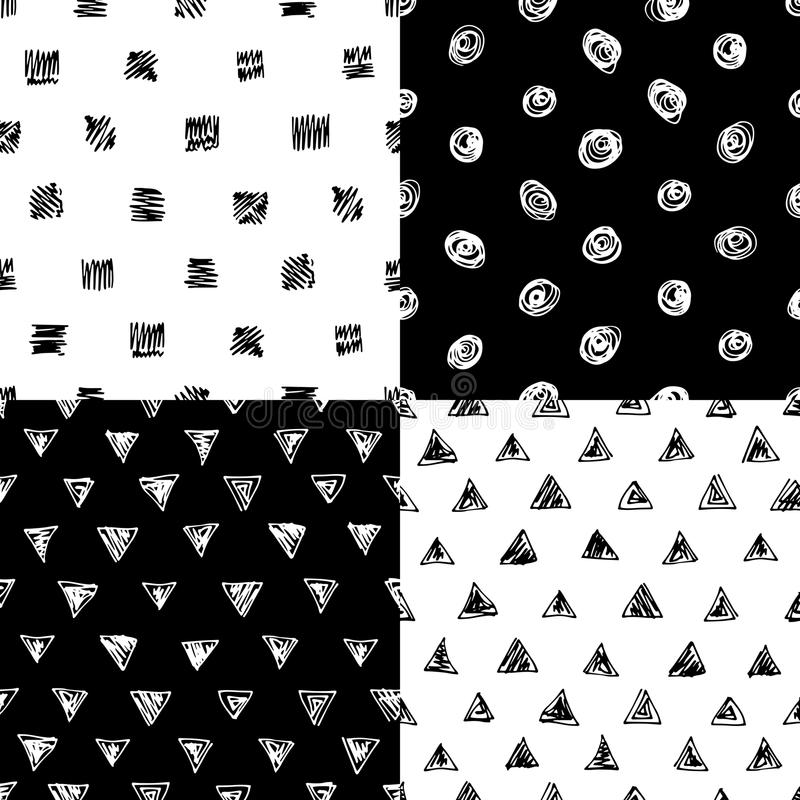 Set of seamless patterns. Witn hand drawn elements. Ink circle square and triangle doodles stock illustration