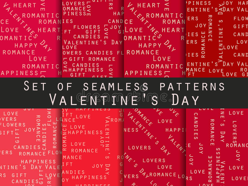 Set of seamless patterns. Words related to Valentine`s Day. Vector. Illustration royalty free illustration
