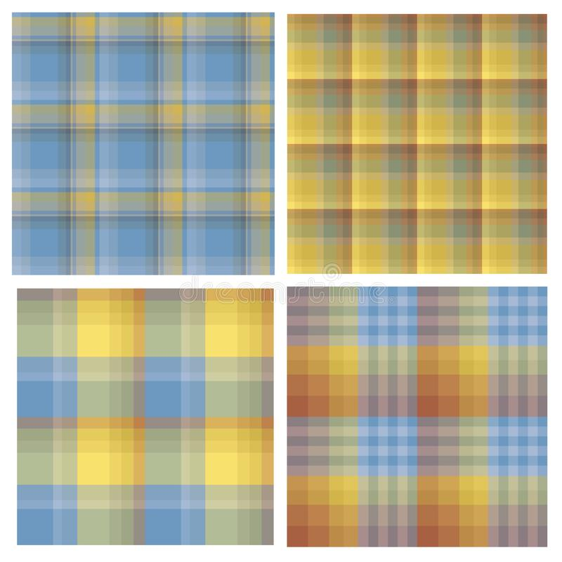 Set of seamless patterns in yellow, orange and blue tones for plaid, fabric, textile, clothes, tablecloth and other things. Vector image vector illustration