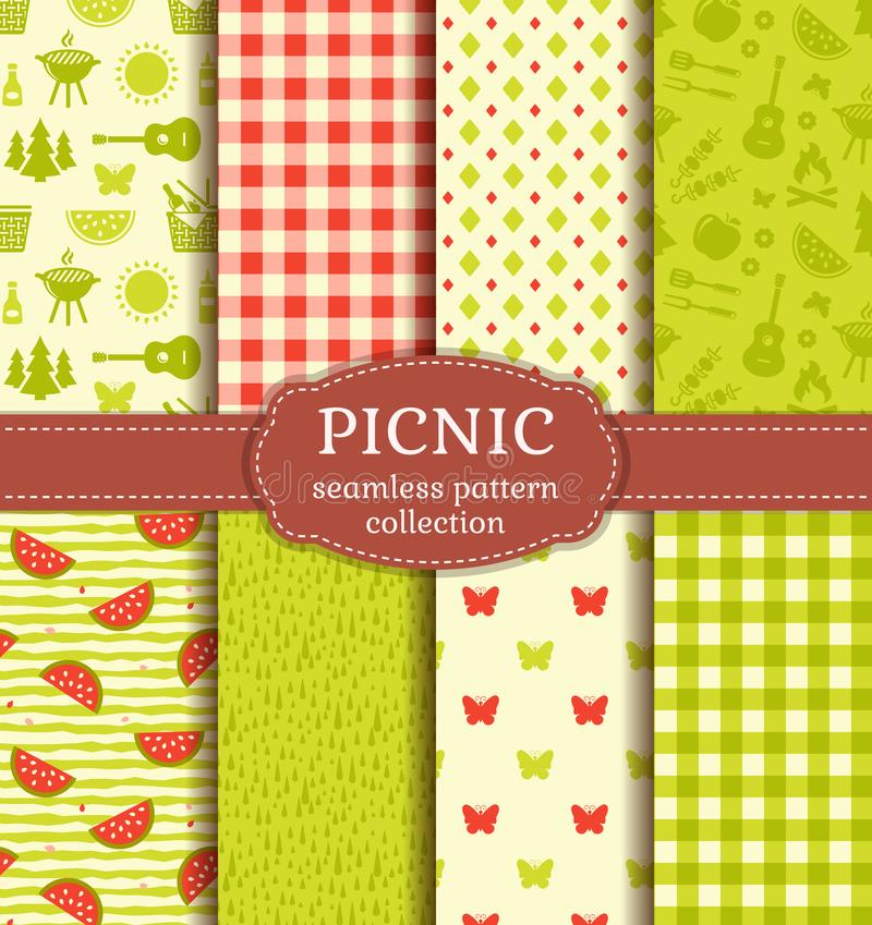 Summer picnic. Seamless patterns. Vector set. stock illustration