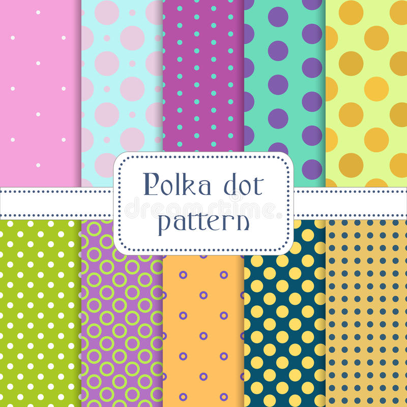 Set of 10 seamless polka dots, circles patterns. Endless texture can be used for wallpaper, pattern fills, web page background, surface textures. Vector stock illustration