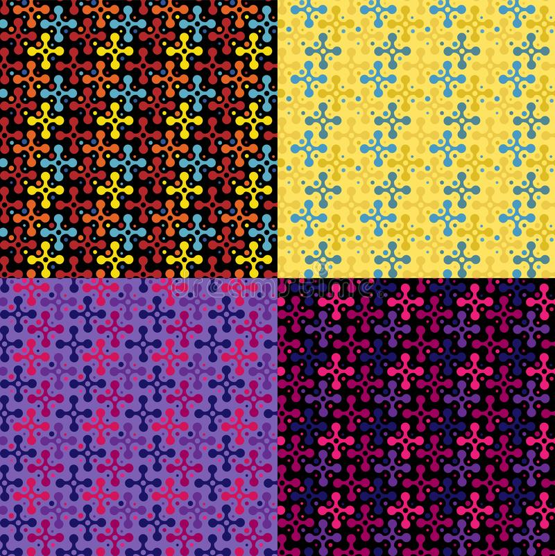 Set of seamless repeating patterns from color crosses stock illustration