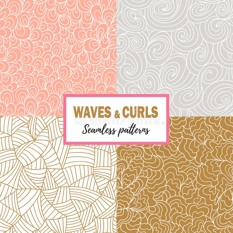 Set of seamless sea hand-drawn patterns, wavy backgrounds. Vector illustration in hand drawn style. vector illustration