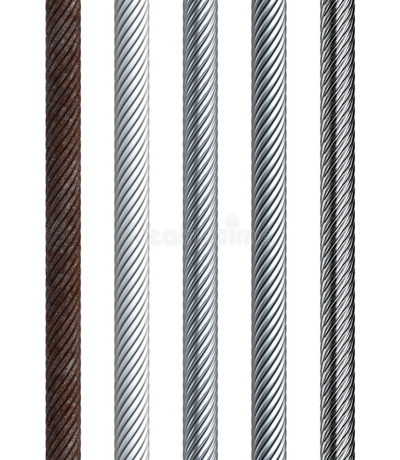 Set Of Seamless Steel Cable Stock Illustration - Illustration of ...