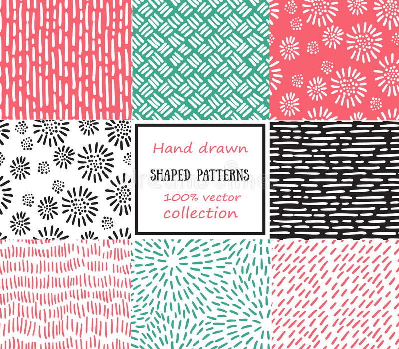 Set of seamless stroke patterns. Hand-drawn background. vector illustration