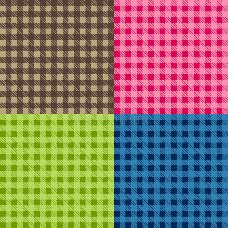 Set of seamless tablecloth Vectors. Seamless traditional tablecloth pattern Vector. Geometrical simple square pattern. vector illustration