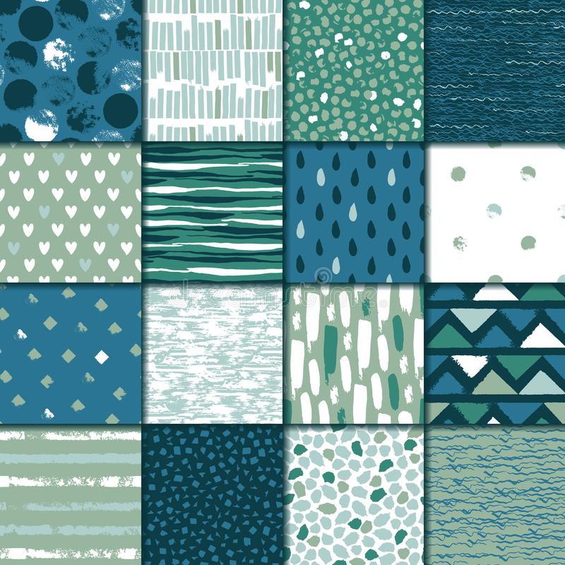 Set of 16 seamless texture. Drops, points, lines, stripes, circles, squares, rectangles. Abstract forms drawn a wide pen and ink. Backgrounds in blue and green stock illustration