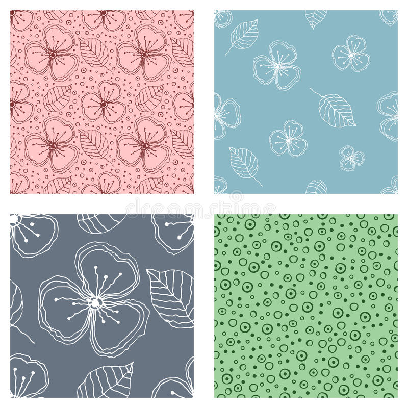 Set of seamless vector floral patterns. Colorful hand drawn background with flowers, leaves, decorative elements. Graphic illustra stock illustration