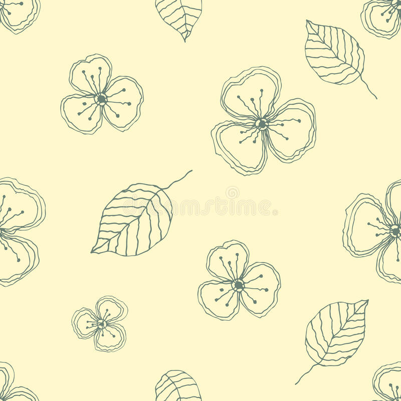 Set of seamless vector floral patterns. Yellow hand drawn background with flowers, leaves, decorative elements. Graphic illustrati stock illustration