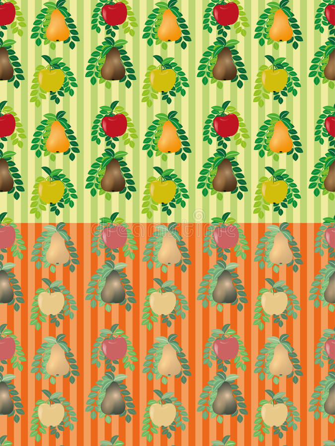 Set of seamless vector fruit patterns stock illustration