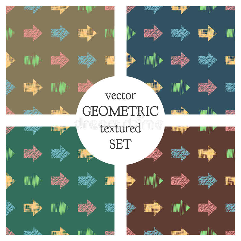 Set of seamless vector geometrical patterns with arrows. pastel endless background with hand drawn textured geometric figures. Gra vector illustration