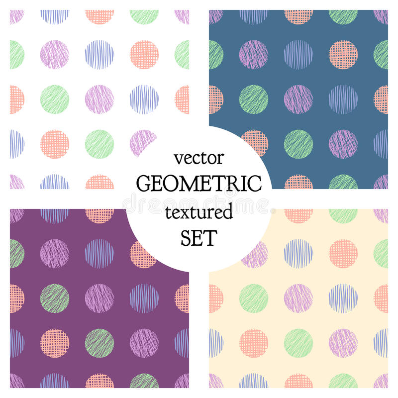 Set of seamless vector geometrical patterns with circles . pastel endless background with hand drawn textured geometric figures. G royalty free illustration