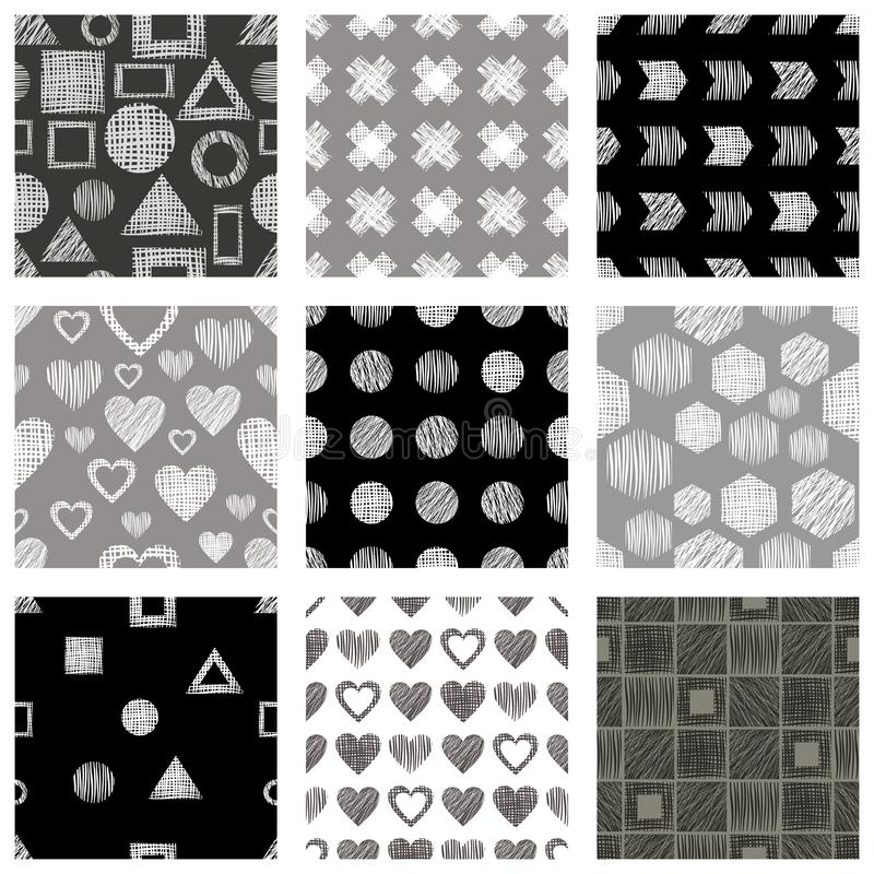 Set of seamless vector geometrical patterns with different geometric figures, forms, grey, black white. Pastel endless background vector illustration