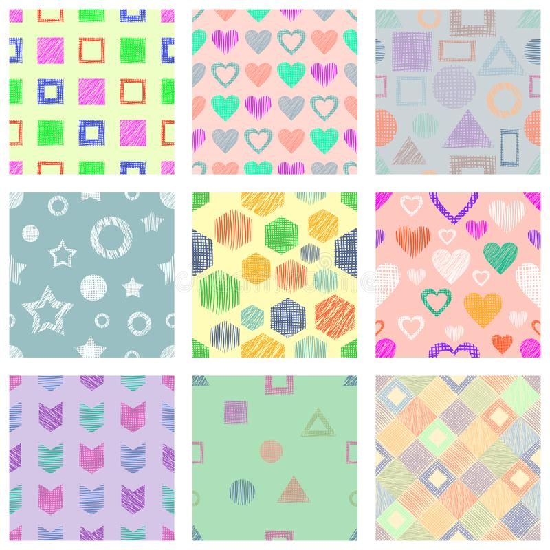 Set of seamless vector geometrical patterns with different geometric figures, forms. pastel endless background with hand drawn tex vector illustration